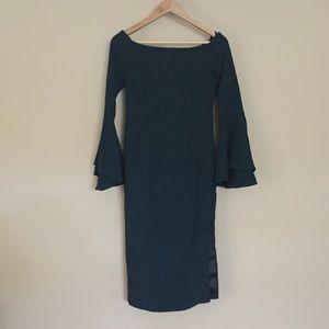 Bardot NWOT off the shoulder, emerald dress, size6